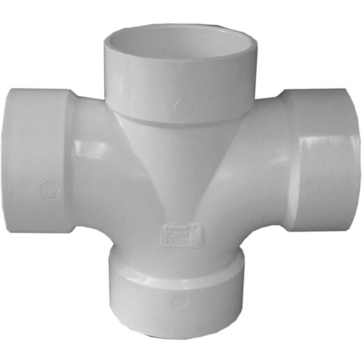 Charlotte Pipe 2 In. X 1-1/2 In. Reducing Double Sanitary PVC Tee