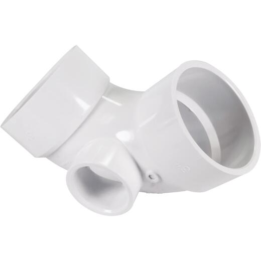 Genova 3 In. x 1-1/2 90D PVC Elbow with Side Inlet