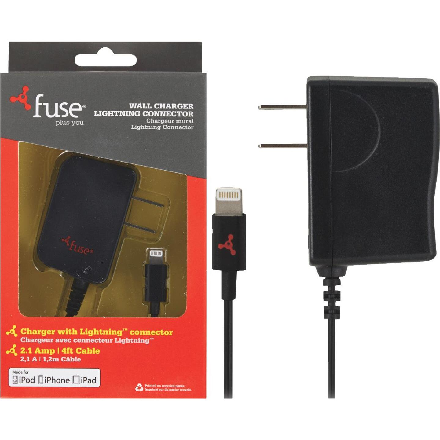 Fuse Lightning Black Wall USB Charger Image 1