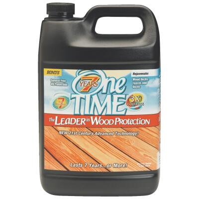 One TIME Clove Brown Wood Preservative Protector & Stain All In One, 1 Gal.
