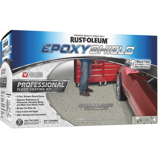 Rust-Oleum EPOXYSHIELD Semi-Gloss Professional Industrial Grade Floor Coating Kit, Silver Gray, 256 Oz.