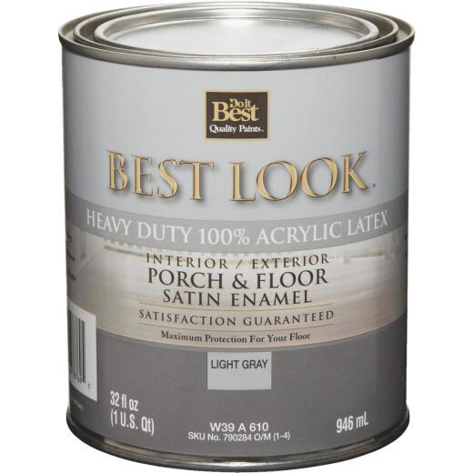 Best Look 1 Qt. Light Gray Heavy-Duty Acrylic Latex Satin Porch & Floor Enamel